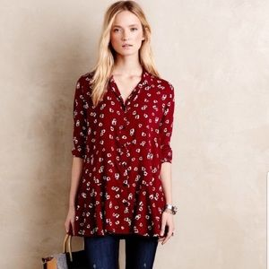 Anthro 11.1.Tylho Red Poppy Floral Lakin Tunic S